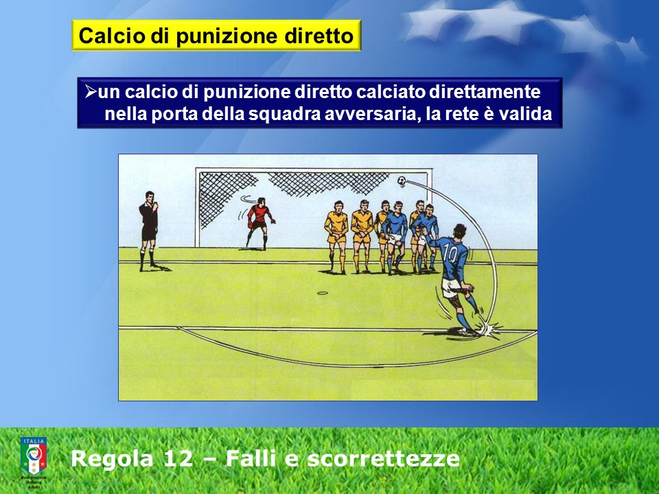 Regola 12 – Falli e scorrettezze Calcio di punizione diretto un calcio di punizione diretto calciato direttamente nella porta della squadra avversaria