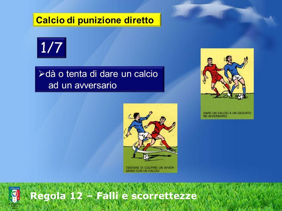 Regola 12 – Falli e scorrettezze Calcio di punizione diretto dà o tenta di dare un calcio ad un avversario 1/7
