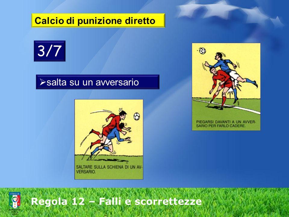 Regola 12 – Falli e scorrettezze Calcio di punizione diretto salta su un avversario 3/7