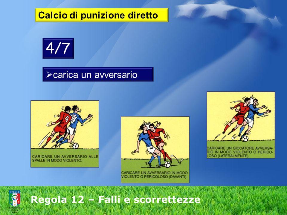 Regola 12 – Falli e scorrettezze Calcio di punizione diretto carica un avversario 4/7