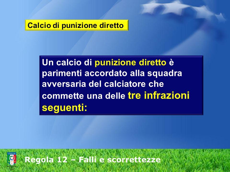 Regola 12 – Falli e scorrettezze Calcio di punizione diretto Un calcio di punizione diretto è parimenti accordato alla squadra avversaria del calciato