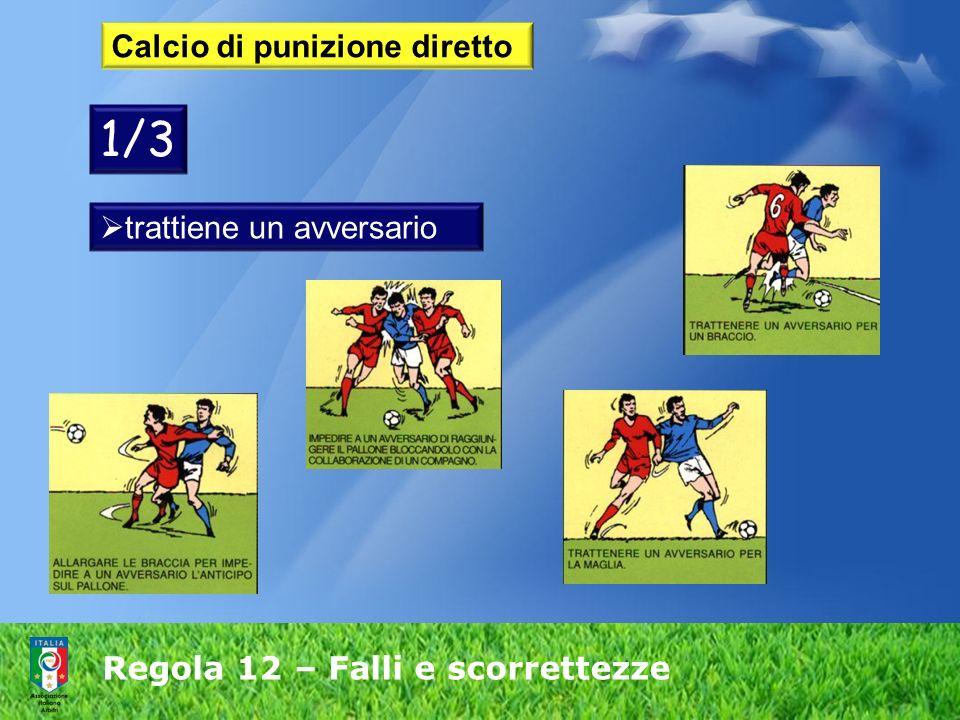 Regola 12 – Falli e scorrettezze Calcio di punizione diretto trattiene un avversario 1/3