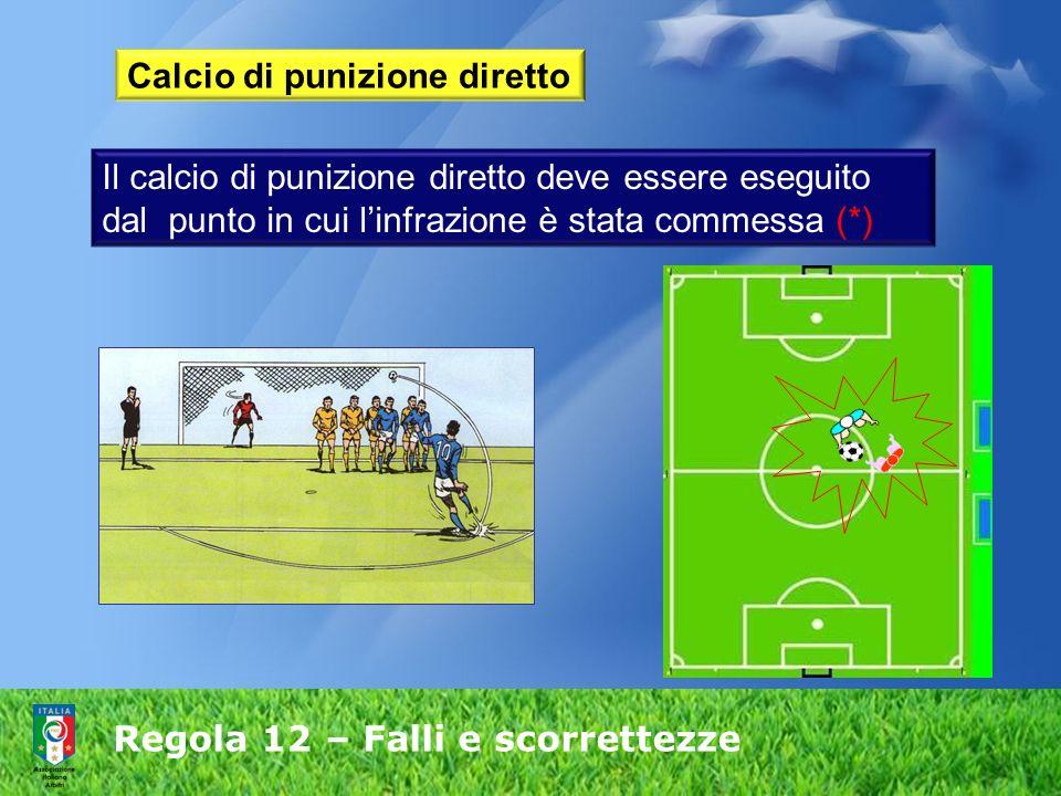 Regola 12 – Falli e scorrettezze Calcio di punizione diretto Il calcio di punizione diretto deve essere eseguito dal punto in cui linfrazione è stata