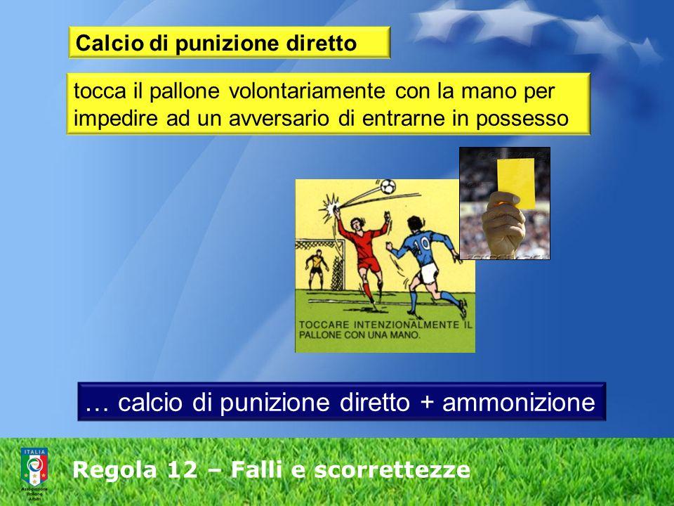 Regola 12 – Falli e scorrettezze Calcio di punizione diretto tocca il pallone volontariamente con la mano per impedire ad un avversario di entrarne in