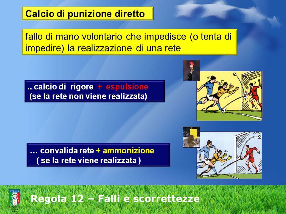 Regola 12 – Falli e scorrettezze Calcio di punizione diretto fallo di mano volontario che impedisce (o tenta di impedire) la realizzazione di una rete