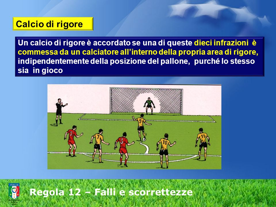 Regola 12 – Falli e scorrettezze Calcio di rigore Un calcio di rigore è accordato se una di queste dieci infrazioni è commessa da un calciatore allint