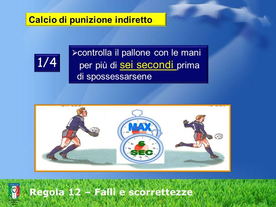 Regola 12 – Falli e scorrettezze Calcio di punizione indiretto controlla il pallone con le mani per più di sei secondi prima di spossessarsene 1/4