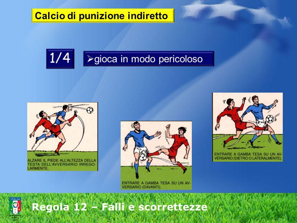 Regola 12 – Falli e scorrettezze Calcio di punizione indiretto gioca in modo pericoloso 1/4