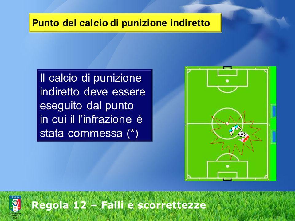 Regola 12 – Falli e scorrettezze Punto del calcio di punizione indiretto Il calcio di punizione indiretto deve essere eseguito dal punto in cui il lin