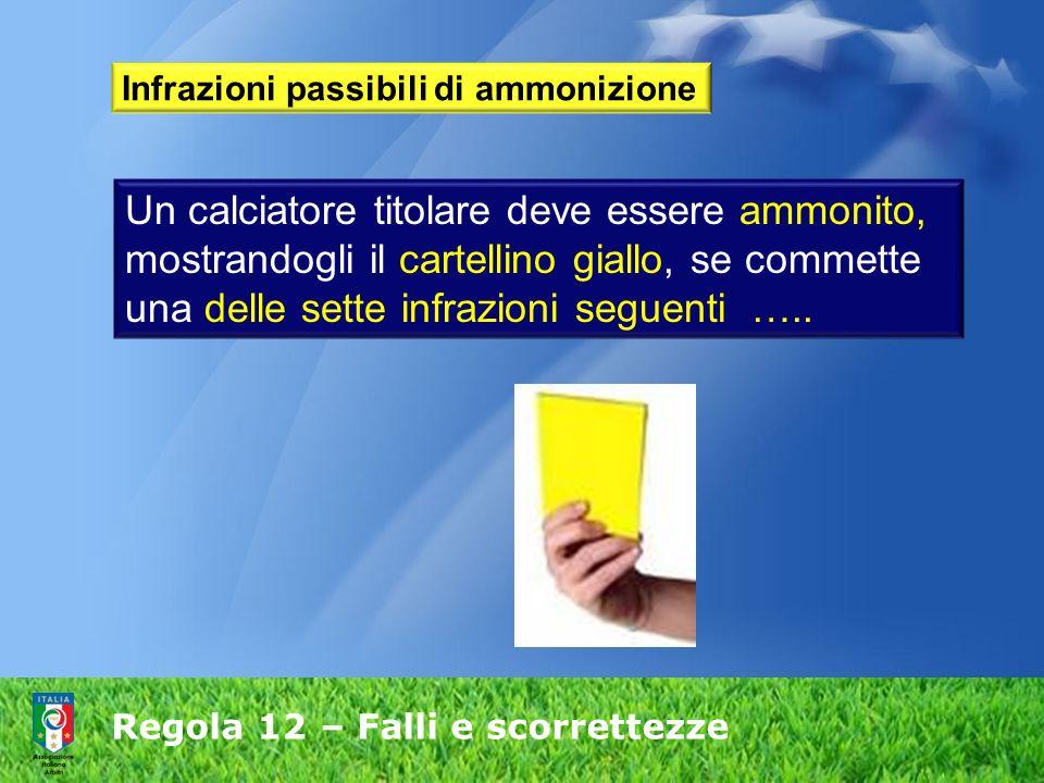 Regola 12 – Falli e scorrettezze Infrazioni passibili di ammonizione Un calciatore titolare deve essere ammonito, mostrandogli il cartellino giallo, s