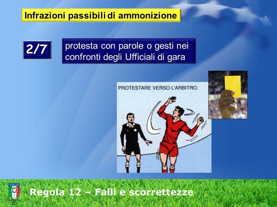 Regola 12 – Falli e scorrettezze Infrazioni passibili di ammonizione protesta con parole o gesti nei confronti degli Ufficiali di gara 2/7