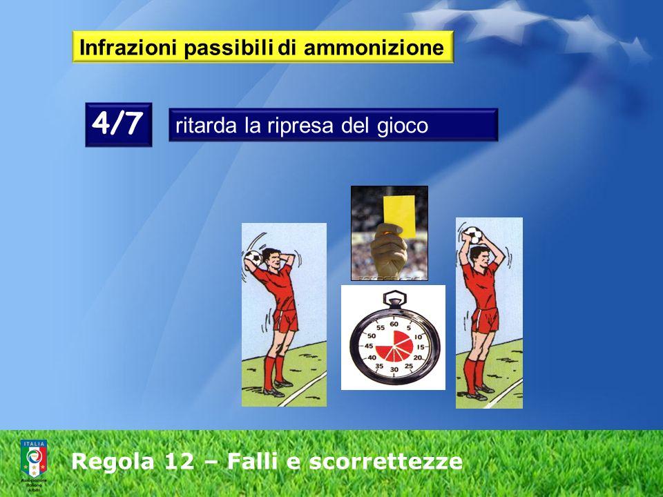 Regola 12 – Falli e scorrettezze Infrazioni passibili di ammonizione 4/7 ritarda la ripresa del gioco