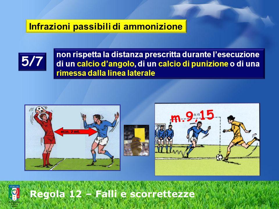 Regola 12 – Falli e scorrettezze Infrazioni passibili di ammonizione non rispetta la distanza prescritta durante lesecuzione di un calcio dangolo, di