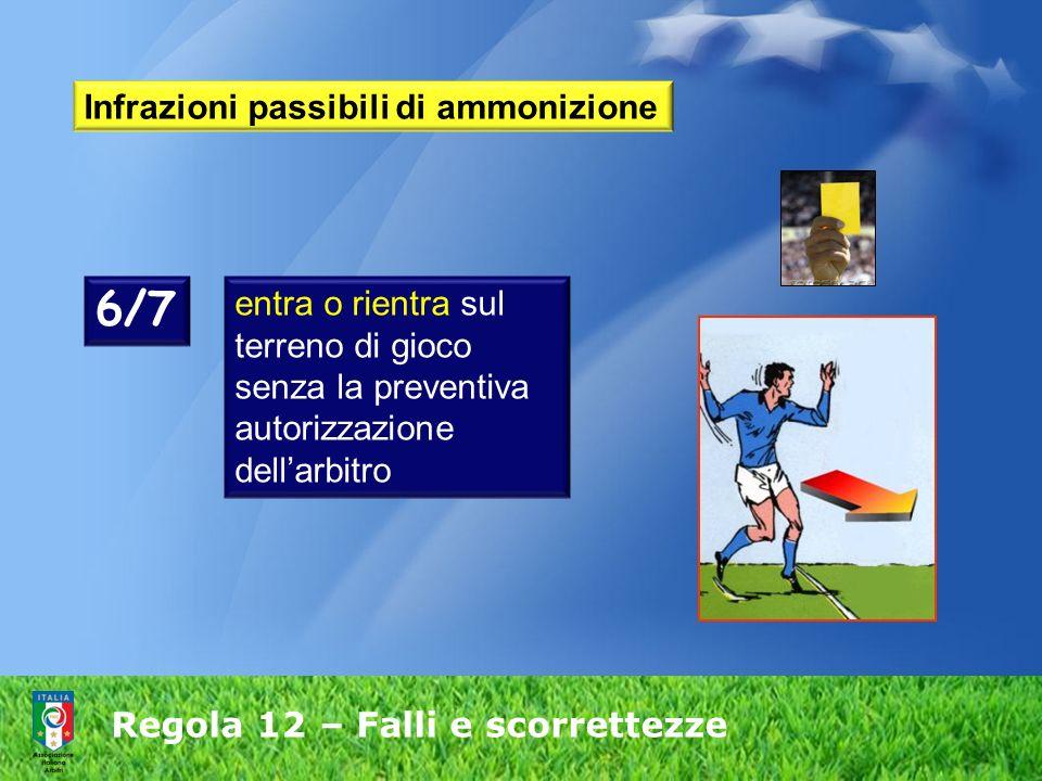 Regola 12 – Falli e scorrettezze Infrazioni passibili di ammonizione 6/7 entra o rientra sul terreno di gioco senza la preventiva autorizzazione della