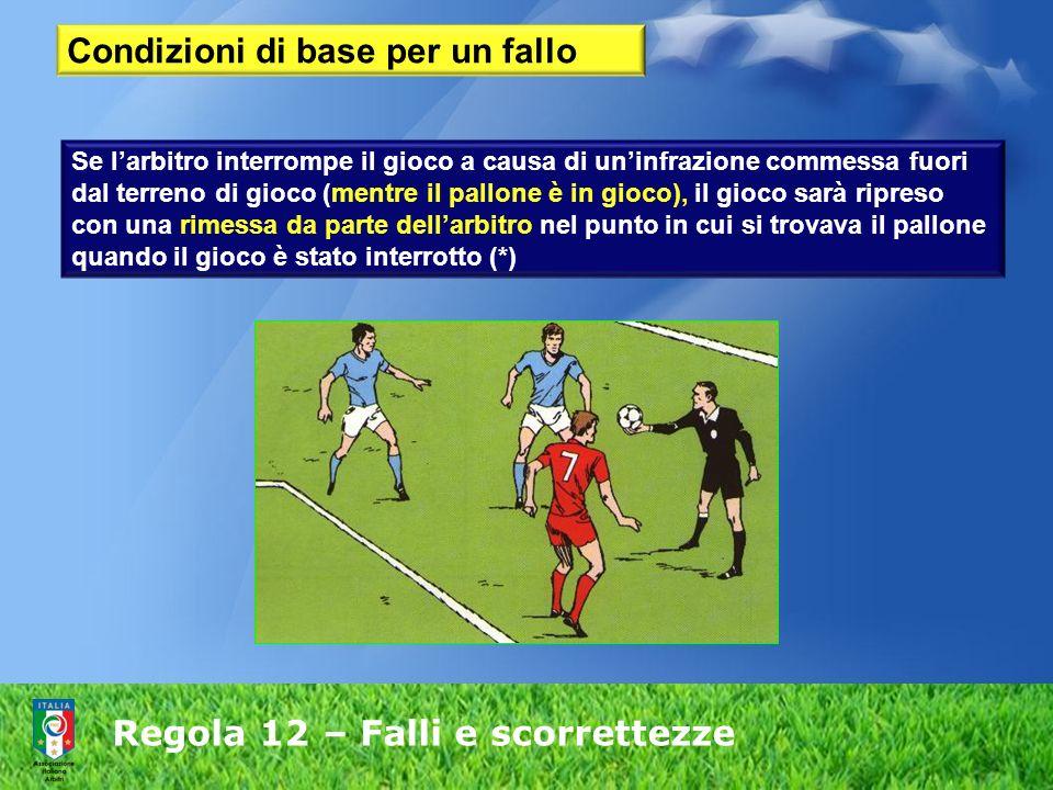 Regola 12 – Falli e scorrettezze Se larbitro interrompe il gioco a causa di uninfrazione commessa fuori dal terreno di gioco (mentre il pallone è in g