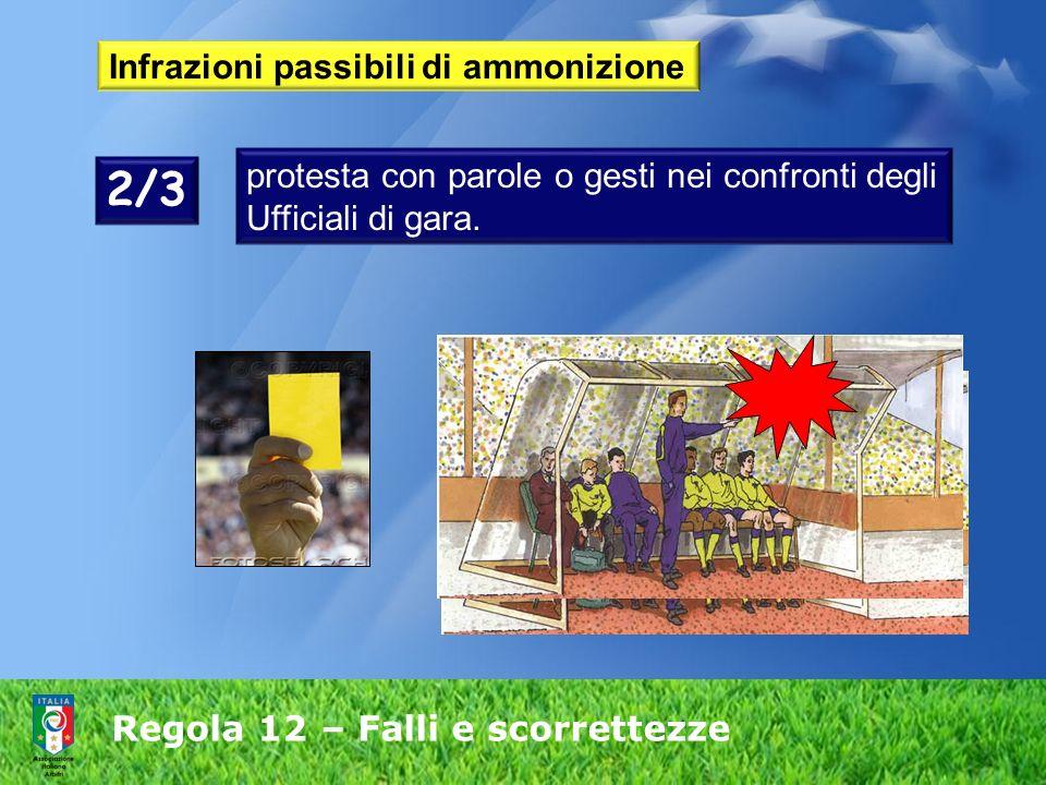 Regola 12 – Falli e scorrettezze Infrazioni passibili di ammonizione protesta con parole o gesti nei confronti degli Ufficiali di gara. 2/3