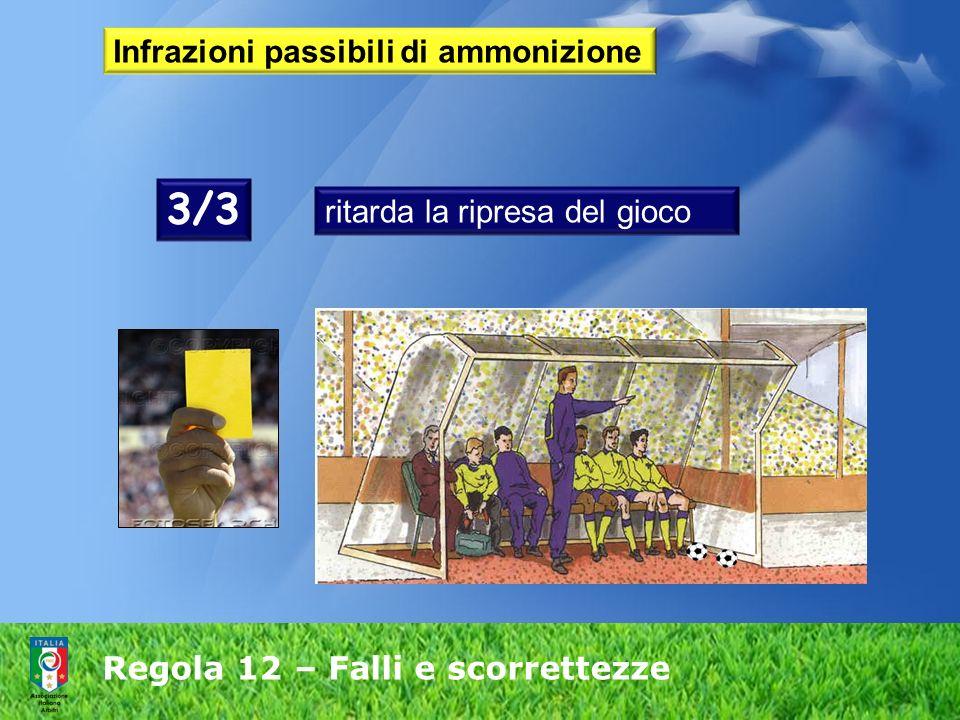 Regola 12 – Falli e scorrettezze Infrazioni passibili di ammonizione ritarda la ripresa del gioco 3/3