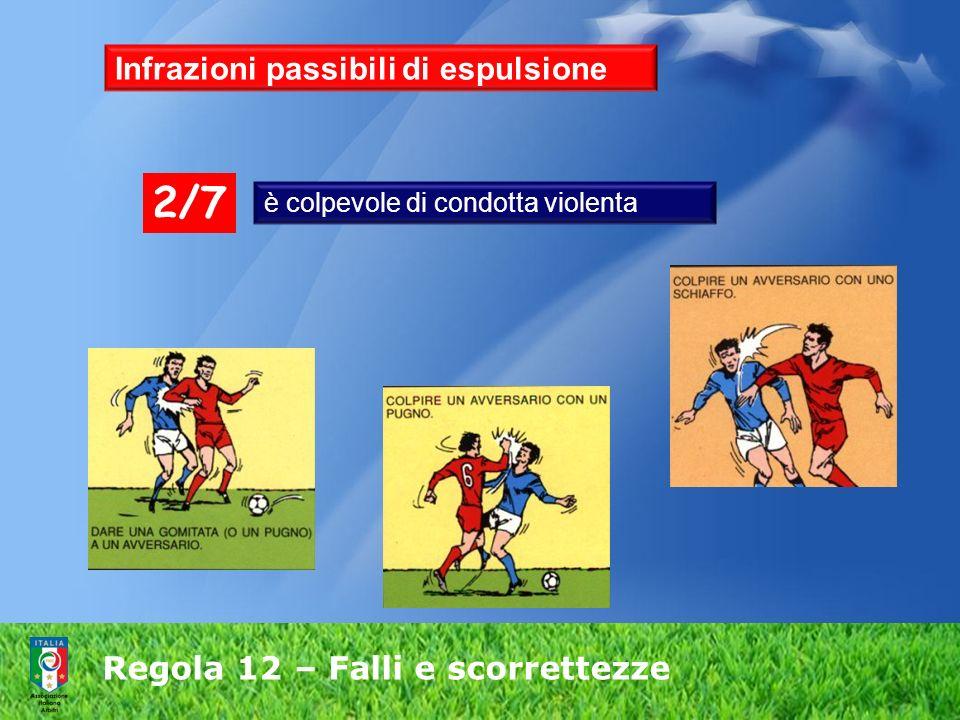 Regola 12 – Falli e scorrettezze Infrazioni passibili di espulsione è colpevole di condotta violenta 2/7