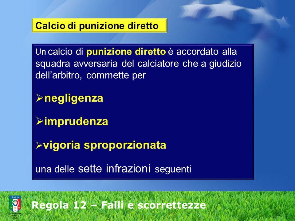 Regola 12 – Falli e scorrettezze Calcio di punizione diretto Un calcio di punizione diretto è accordato alla squadra avversaria del calciatore che a g