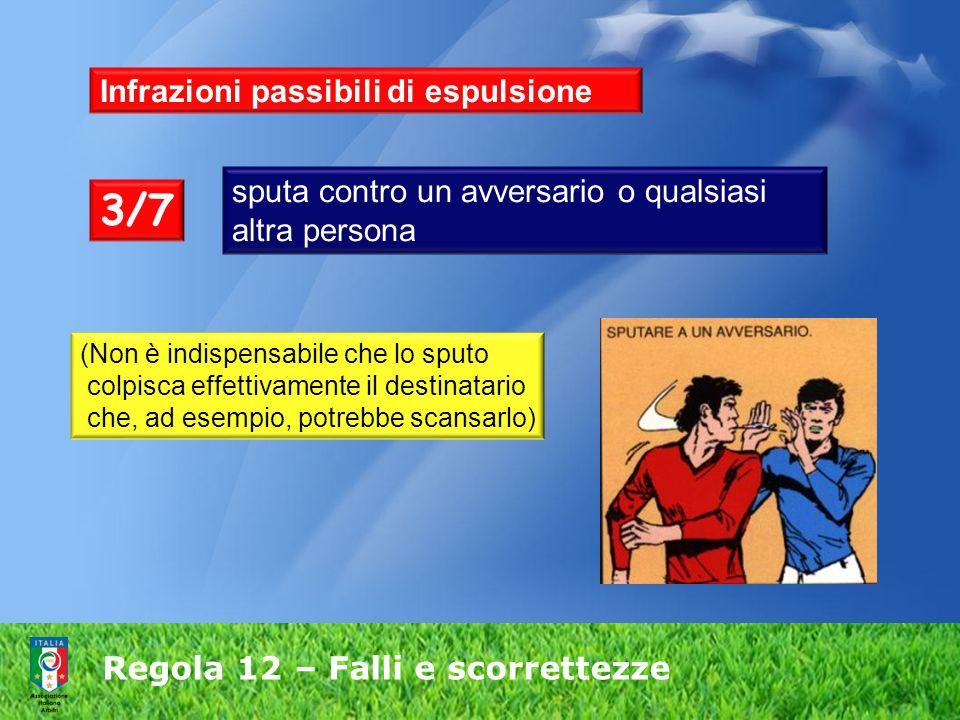 Regola 12 – Falli e scorrettezze Infrazioni passibili di espulsione sputa contro un avversario o qualsiasi altra persona 3/7 (Non è indispensabile che