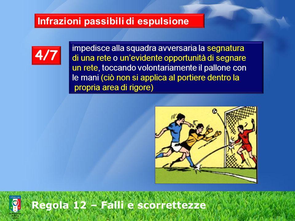 Regola 12 – Falli e scorrettezze Infrazioni passibili di espulsione impedisce alla squadra avversaria la segnatura di una rete o unevidente opportunit