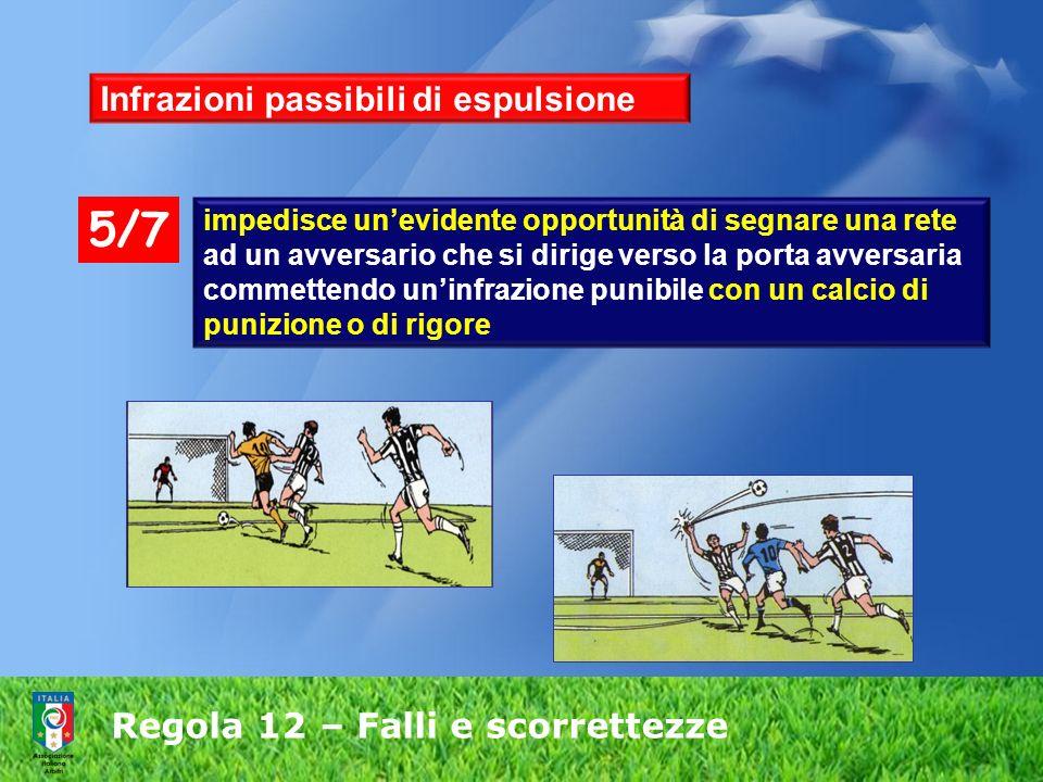 Regola 12 – Falli e scorrettezze Infrazioni passibili di espulsione impedisce unevidente opportunità di segnare una rete ad un avversario che si dirig