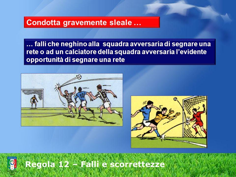 Regola 12 – Falli e scorrettezze Condotta gravemente sleale … … falli che neghino alla squadra avversaria di segnare una rete o ad un calciatore della