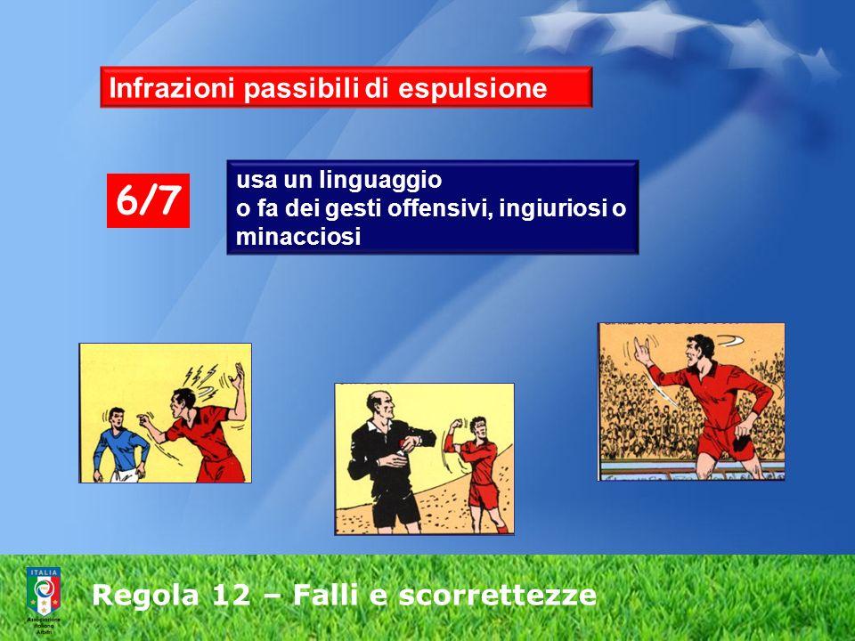 Regola 12 – Falli e scorrettezze usa un linguaggio o fa dei gesti offensivi, ingiuriosi o minacciosi 6/7 Infrazioni passibili di espulsione