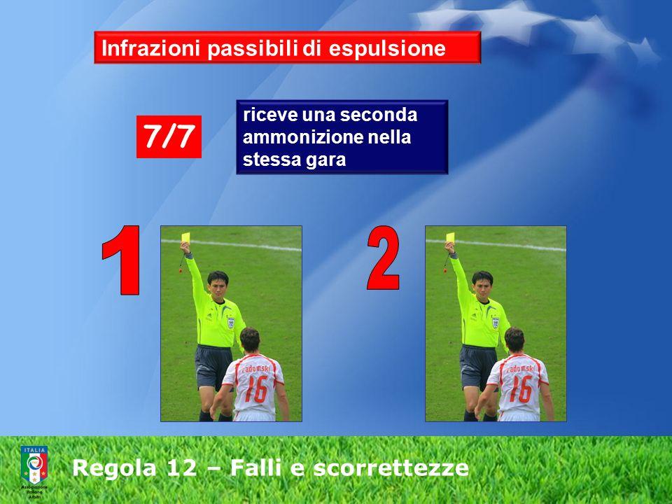 Regola 12 – Falli e scorrettezze riceve una seconda ammonizione nella stessa gara 7/7 Infrazioni passibili di espulsione