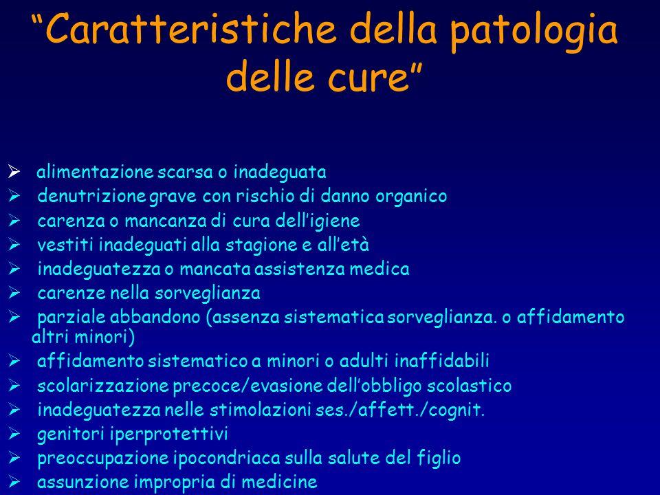 Caratteristiche della patologia delle cure alimentazione scarsa o inadeguata denutrizione grave con rischio di danno organico carenza o mancanza di cu