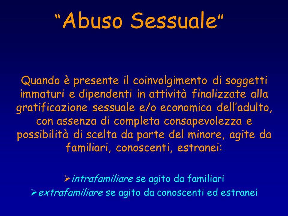 Abuso Sessuale Quando è presente il coinvolgimento di soggetti immaturi e dipendenti in attività finalizzate alla gratificazione sessuale e/o economic