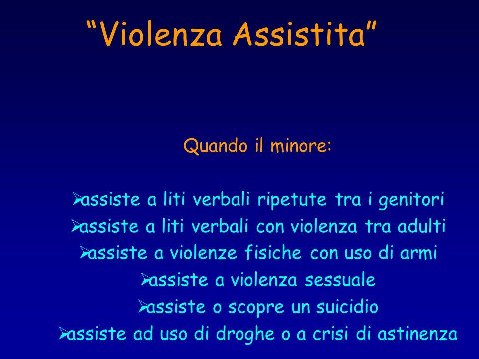 Violenza Assistita Quando il minore: assiste a liti verbali ripetute tra i genitori assiste a liti verbali con violenza tra adulti assiste a violenze