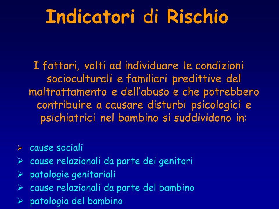 Indicatori di Rischio I fattori, volti ad individuare le condizioni socioculturali e familiari predittive del maltrattamento e dellabuso e che potrebb