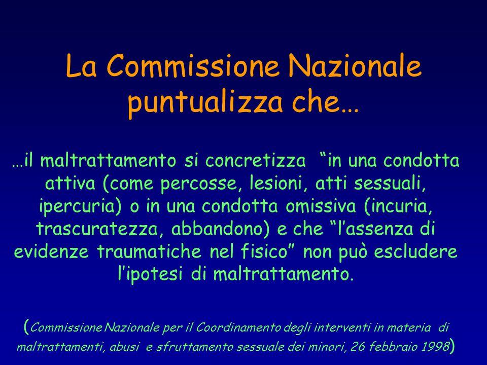 La Commissione Nazionale puntualizza che… …il maltrattamento si concretizza in una condotta attiva (come percosse, lesioni, atti sessuali, ipercuria)