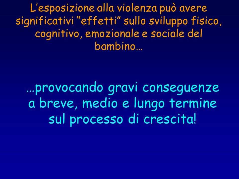 Lesposizione alla violenza può avere significativi effetti sullo sviluppo fisico, cognitivo, emozionale e sociale del bambino… …provocando gravi conse