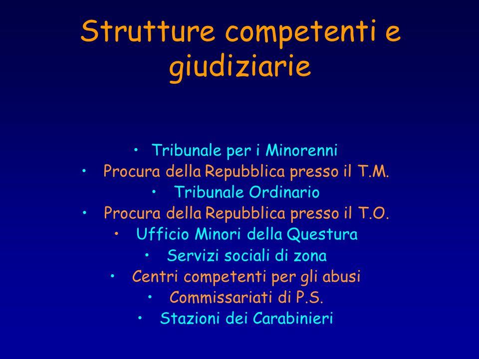Strutture competenti e giudiziarie Tribunale per i Minorenni Procura della Repubblica presso il T.M. Tribunale Ordinario Procura della Repubblica pres