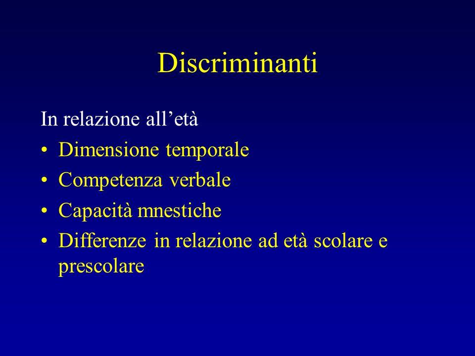 Discriminanti In relazione alletà Dimensione temporale Competenza verbale Capacità mnestiche Differenze in relazione ad età scolare e prescolare