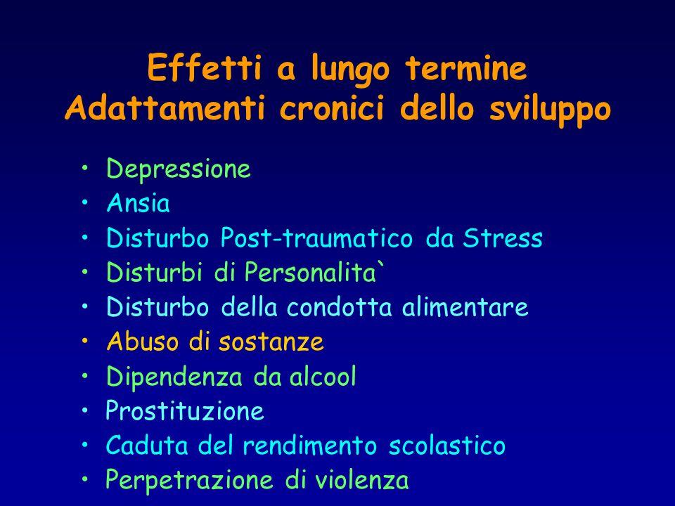 Effetti a lungo termine Adattamenti cronici dello sviluppo Depressione Ansia Disturbo Post-traumatico da Stress Disturbi di Personalita` Disturbo dell