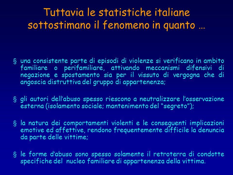 Tuttavia le statistiche italiane sottostimano il fenomeno in quanto … § una consistente parte di episodi di violenze si verificano in ambito familiare