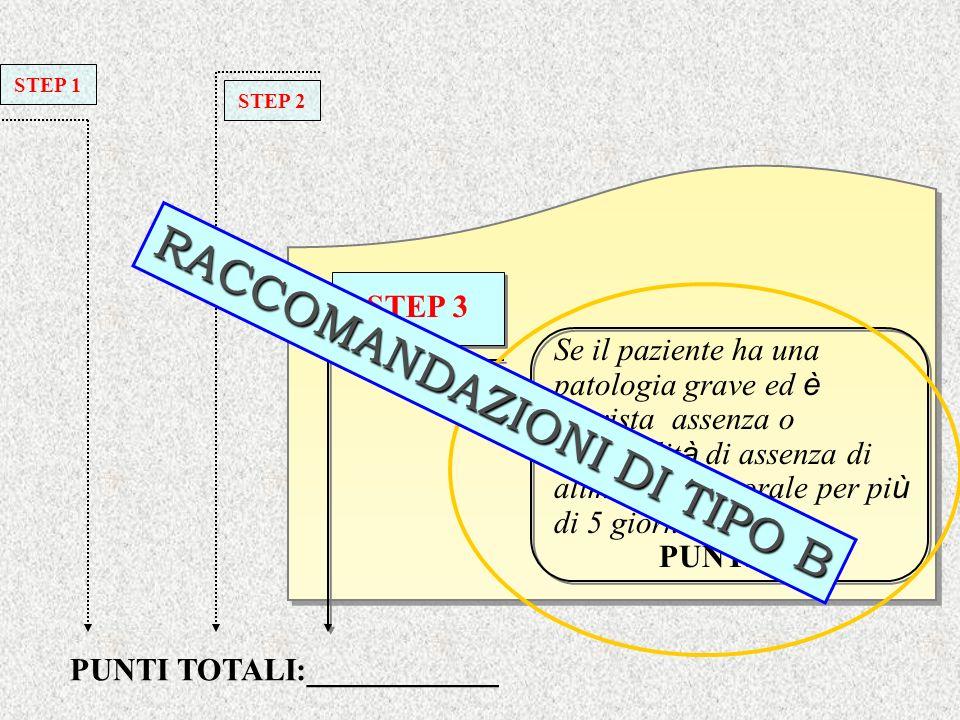 Se il paziente ha una patologia grave ed è prevista assenza o probabilit à di assenza di alimentazione orale per pi ù di 5 giorni PUNTI 2 STEP 3 PUNTI