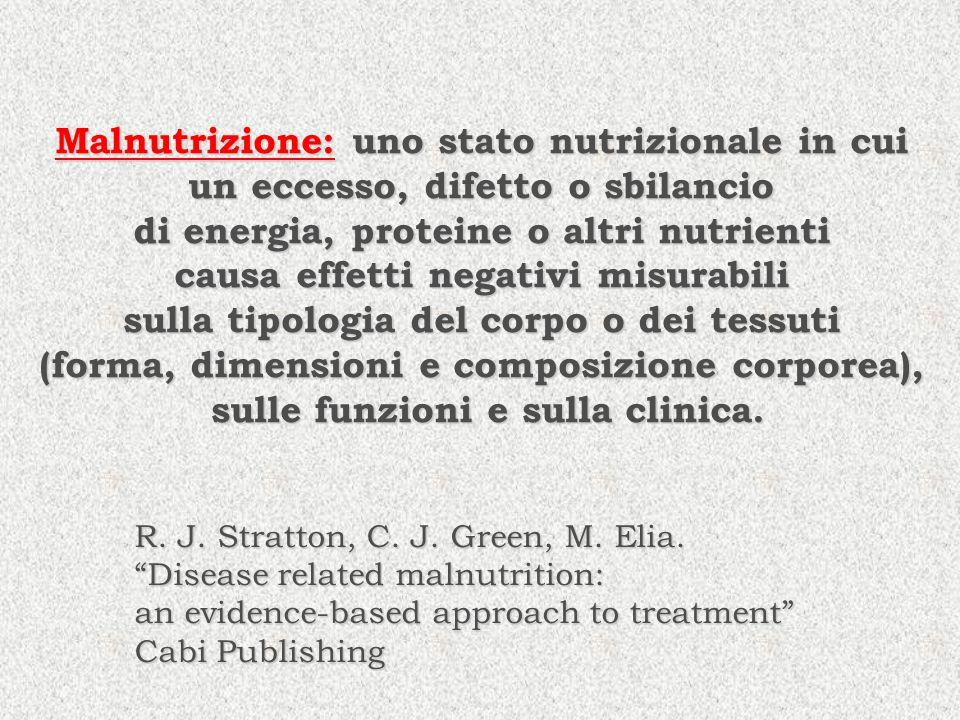 Malnutrizione: uno stato nutrizionale in cui un eccesso, difetto o sbilancio di energia, proteine o altri nutrienti causa effetti negativi misurabili
