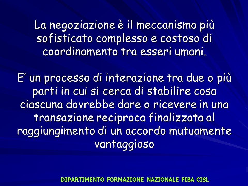 La negoziazione è il meccanismo più sofisticato complesso e costoso di coordinamento tra esseri umani. E un processo di interazione tra due o più part