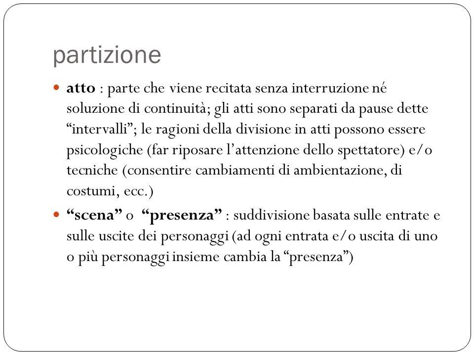 partizione atto : parte che viene recitata senza interruzione né soluzione di continuità; gli atti sono separati da pause dette intervalli; le ragioni
