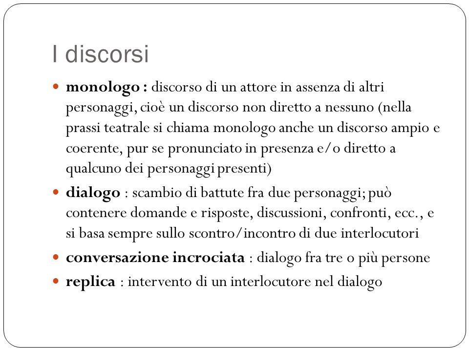 I discorsi monologo : discorso di un attore in assenza di altri personaggi, cioè un discorso non diretto a nessuno (nella prassi teatrale si chiama mo