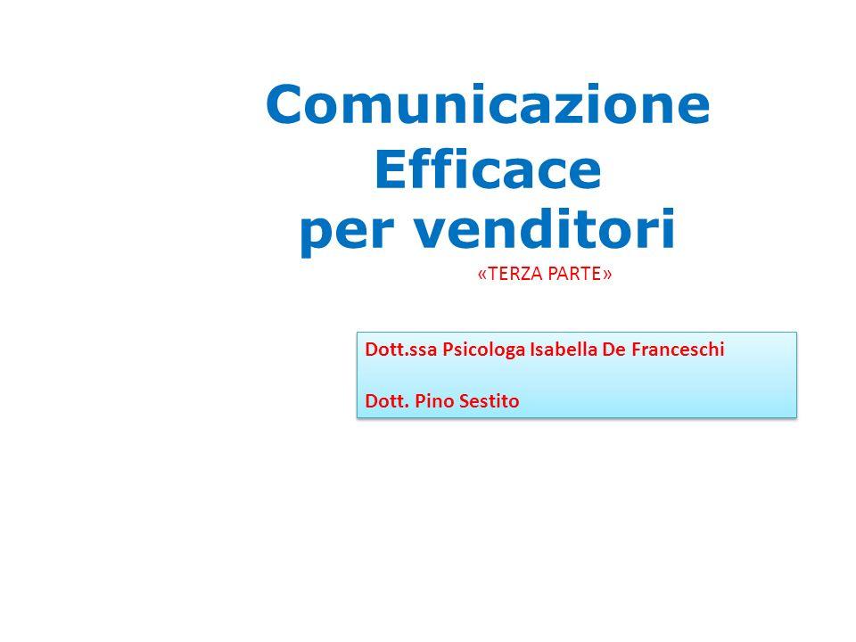 Comunicazione Efficace per venditori Dott.ssa Psicologa Isabella De Franceschi Dott.
