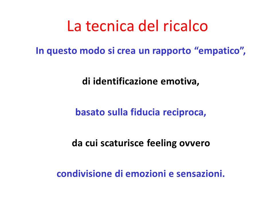 In questo modo si crea un rapporto empatico, di identificazione emotiva, basato sulla fiducia reciproca, da cui scaturisce feeling ovvero condivisione di emozioni e sensazioni.