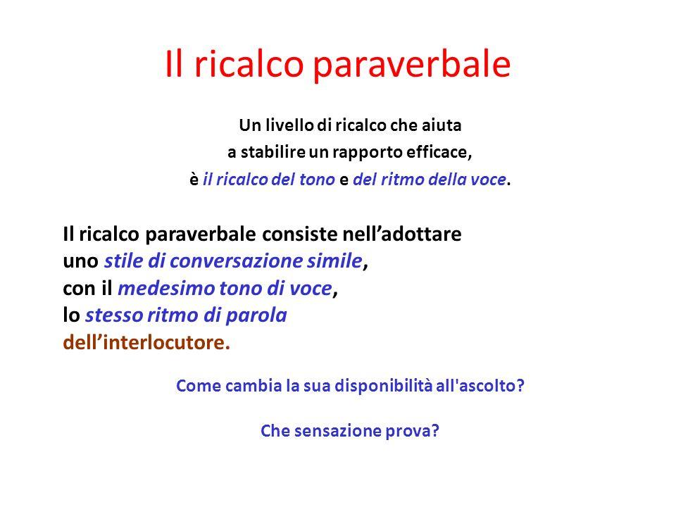 Il ricalco paraverbale Un livello di ricalco che aiuta a stabilire un rapporto efficace, è il ricalco del tono e del ritmo della voce.