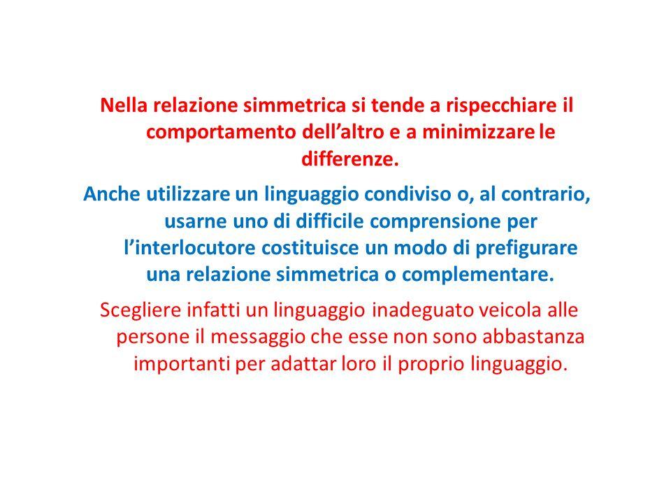 Nella relazione simmetrica si tende a rispecchiare il comportamento dellaltro e a minimizzare le differenze.