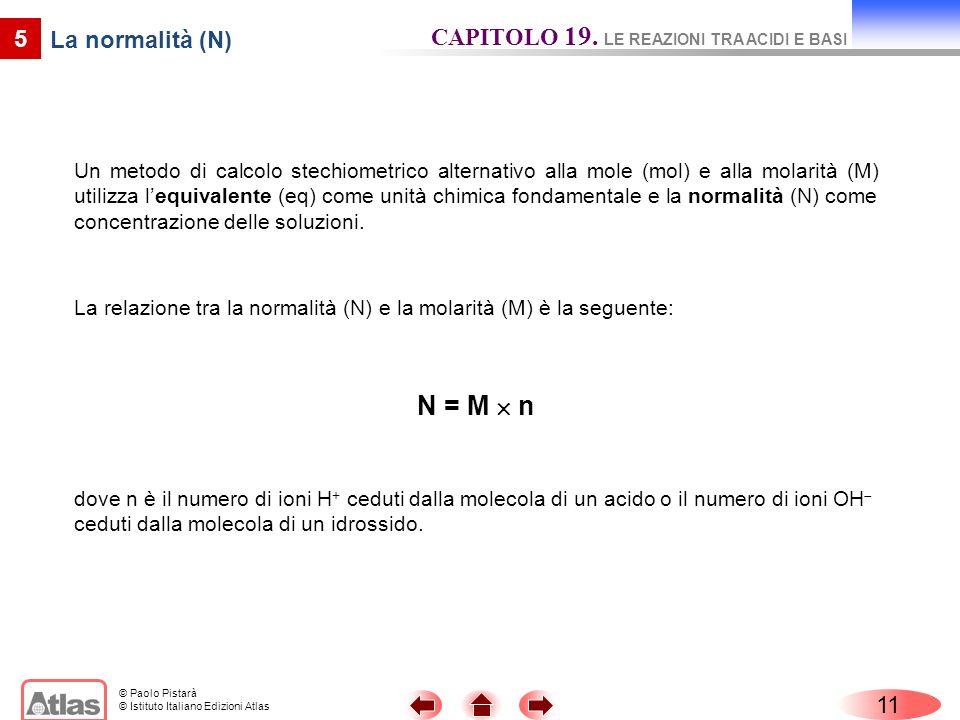 © Paolo Pistarà © Istituto Italiano Edizioni Atlas 11 5 La normalità (N) Un metodo di calcolo stechiometrico alternativo alla mole (mol) e alla molari