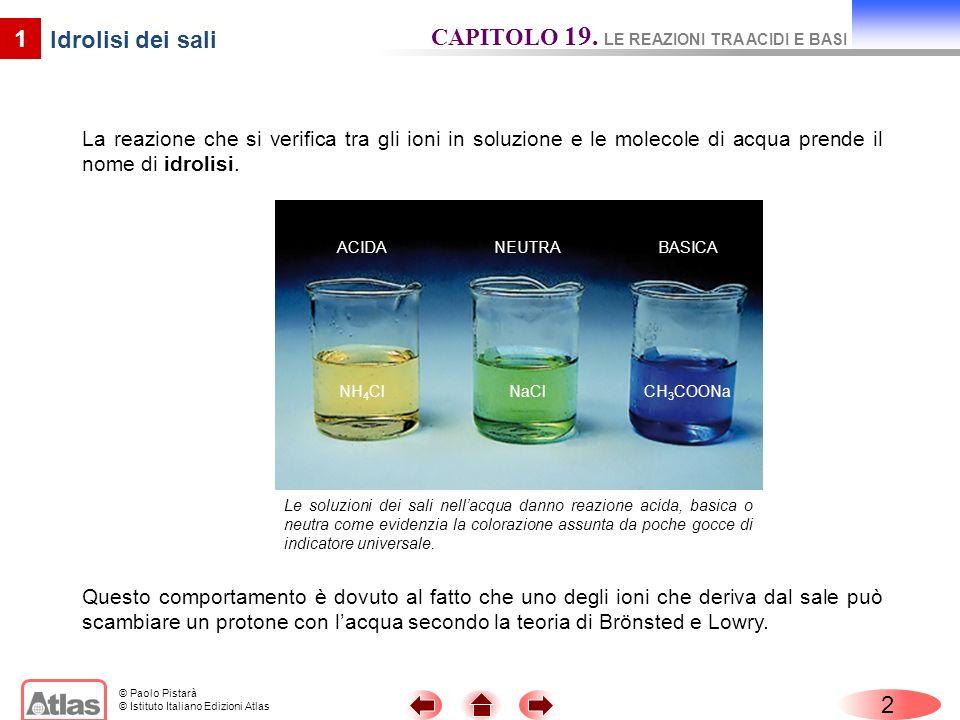 © Paolo Pistarà © Istituto Italiano Edizioni Atlas 3 1 Na + + H 2 O nessuna reazione Idrolisi dei sali CAPITOLO 19.